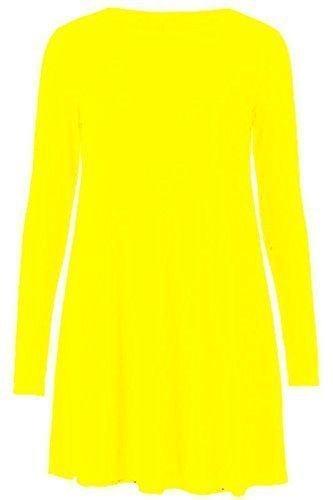 Vestido de manga larga para mujer, con estampado de leopardo, tallas 36-56 amarillo