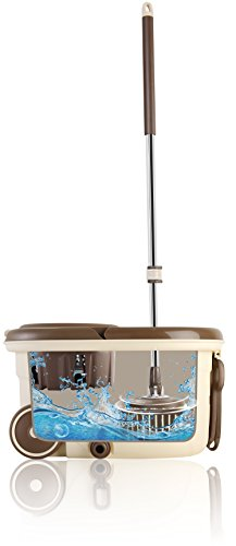 RoMop SA-SMP50 B0742LPHRJ Easy to Go Stainless Steel Deluxe Rolling Spin, High-Speed Turbo Washing, [Includes 2X Microfiber Heads, Chenille Mop Pad, 1x Sc
