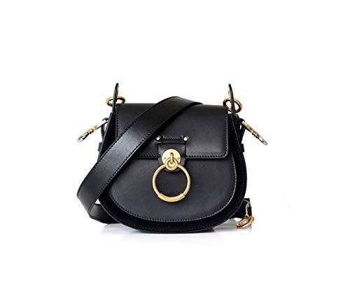 - Lozoco Women's Genuine Leather Contrast Color Circular Ring Saddle Bag Vintage Handbag