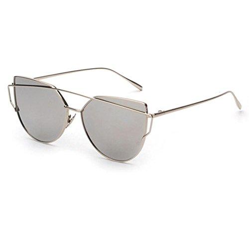 OverDose, Lunettes De Soleil CarréEs Unisex Yeux De Chat à Verres Effet Miroir Anti-UV Sport Glasses (K)