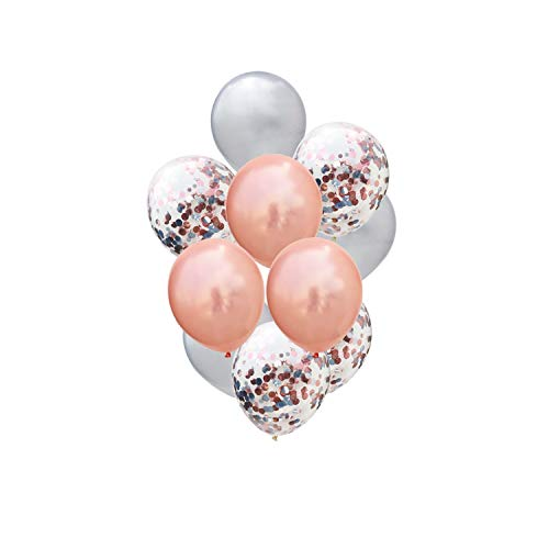 - 10/15Pcs 12inch Metallic Confetti Latex Balloons Confetti Balloons Inflatable Ball for Birthday Wedding Party Balloon Supplies,RG Silver Confetti