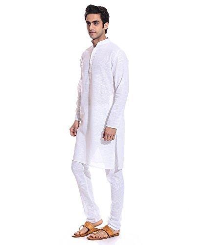 Royal Kurta Men's Superfine Linen Slub Kurta Churidar Set 44 White