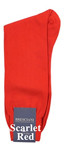 Certified Sea Island Cotton Mid-Calf Socks 1 Pair Red X-Large