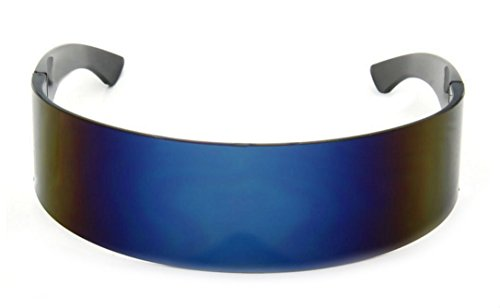 WebDeals - Futuristic Wrap Around Monoblock Cyclops Shield Sunglasses (Blue - Futuristic Glasses