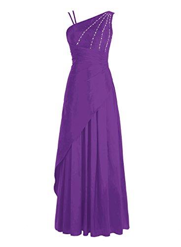 Bbonlinedress Vestido Mujer Largo Ceremonia Fiesta Noche Cóctel Tafetán Escote Asimétrico Violeta
