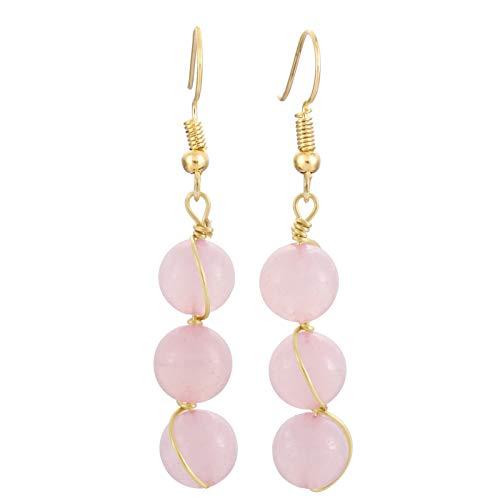ead Tassel Dangle Earrings for Women, Gold Plated, Rose Quartz ()