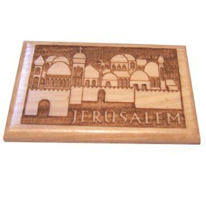 Holy Land Market Jerusalem Magnet - Olive wood (6x4 cm 2.4x1.6) by Holy Land Market