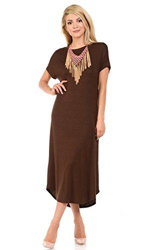 - iconic luxe Women's A-Line Short Sleeve Midi Dress Medium Dark Brown
