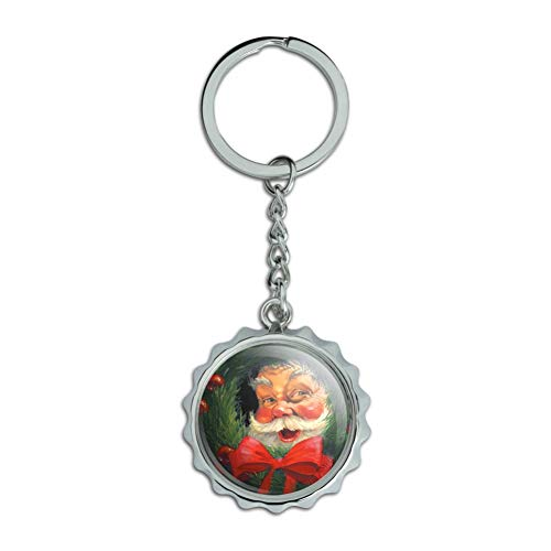 - Christmas Holiday Santa Claus Wreath Chrome Plated Metal Pop Cap Bottle Opener Keychain Key Ring