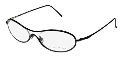 Kata Mondo For Ladies/Women Oval Full-Rim Shape Titanium Light Weight Allergy Free Eyeglasses/Spectacles (56-19-140, Black)