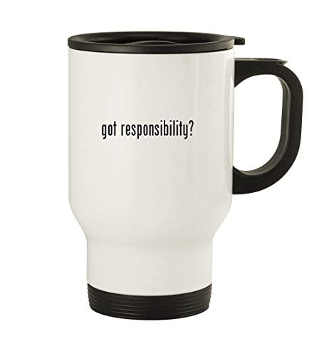 got responsibility? - 14oz Stainless Steel Travel Mug, White