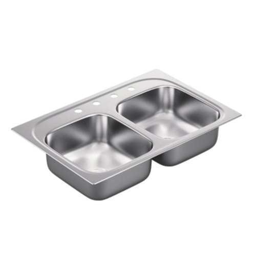 Moen G182154 1800 Series 18 Gauge Double Bowl Drop In Sink, Stainless Steel by Moen by Moen