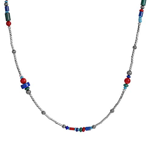 American West Sterling Silver Red Coral, Green Malachite, Blue Lapis and Turquoise Gemstone Station Beaded Necklace 24 to 27 Inch