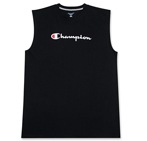 - Champion Big and Tall Mens Jersey Muscle Tee with Script Logo Black 1X Big
