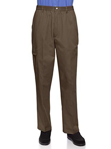 - AKA Wrinkle Free Men's Full Elastic Waist Twill Casual Pant Brown Medium
