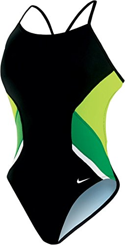 Nike Swim Poly Team Splice Cut-Out Tank,Court Green (313),26