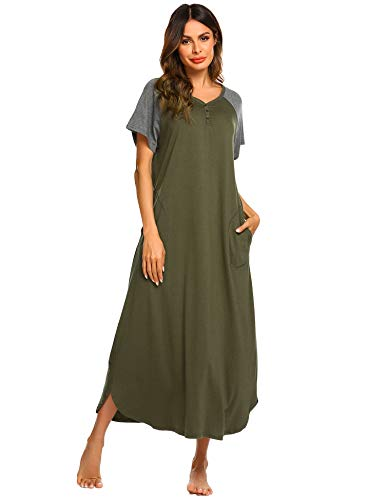 Ekouaer Night Shirt Womens Nightgown Robe Long Nightshirt (Army Green, Large)