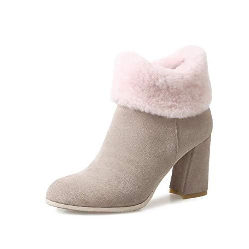 IWxez Bottes Mode Femme Bottes d'hiver en Daim Chunky Heel Bout - Bottines/Bottines à Bout Heel fermé - Noir/Amande 36 EU|Almond 37144e