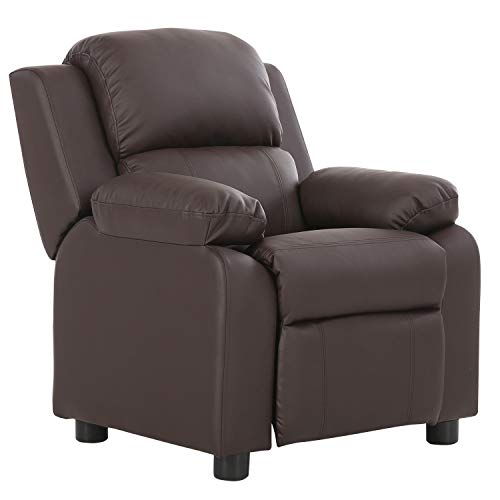 LCH Contemporary PU Leather Kids Recliner with Deluxe Padded Backrest and Flip-up Storage Arms, Mini Little Small Recliner Sofa Chair for Baby Toddler Boys Girls Childrens - Brown -