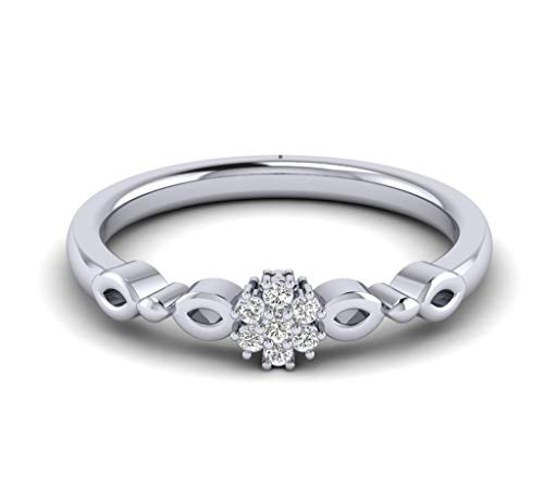 Fehu Jewel Natural Diamond engagement ring in White Gold Plated Silver (1/10 ct, H-I Color, I1-I2 Clarity) for women