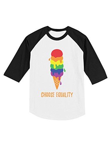 Raglan Gay Rainbow Flag - Tstars Equality Rainbow Ice Cream Pride Flag Toddler Raglan 3/4 Sleeve Baseball Tee 4T Black/White