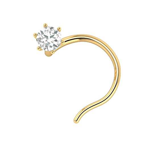 HAND MADE 14KT GOLD NOSE STUD WITH DIAMOND .06CENTS to 0.21 CENTS WITH CERTIFICATE TWIST SCREW 25 G (.10 CTS)
