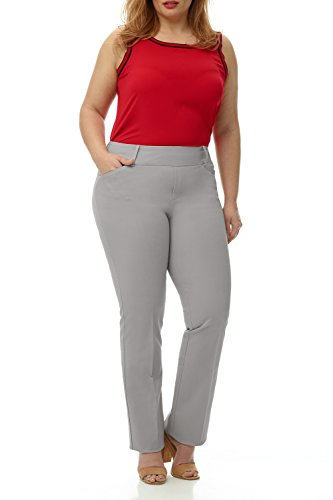 Cotton Bootcut Trousers (Rekucci Curvy Woman Plus Size Pull-On Bootcut Pant in Ultimate 360 Degree Stretch Cotton (22W,Silver))