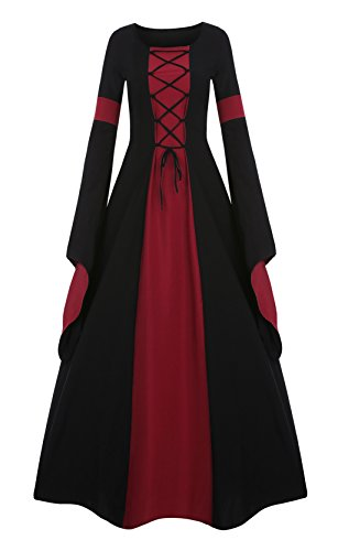 Meilidress Women Medieval Dress Lace Up Vintage Floor Length Cosplay Retro Long Dress Red ()