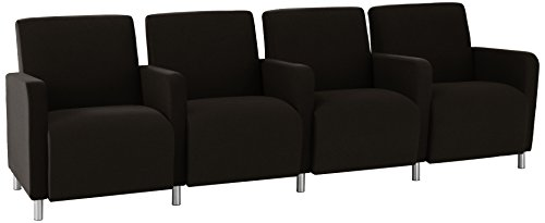 Lesro Ravenna 4 Seats with Center Arms and Steel Legs, Core Macro - Lesro Four Seat
