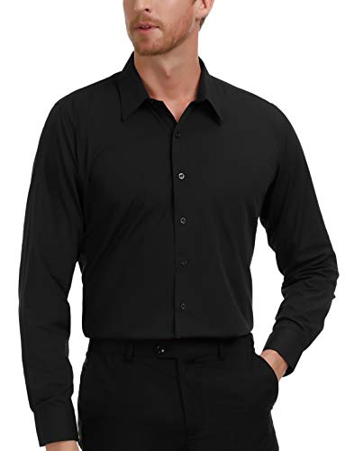 PAUL JONES Men's Black Casual Button Down Shirt Slim Fit Dress Shirts (S) ()