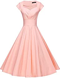 Gowntown Womens Dresses Party Dresses 1950s Vintage Dresses Swing Stretchy Dresses Pink X Large