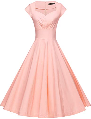 GownTown Womens Dresses Party Dresses 1950s Vintage Dresses Swing Stretchy Dresses, Pink, Small