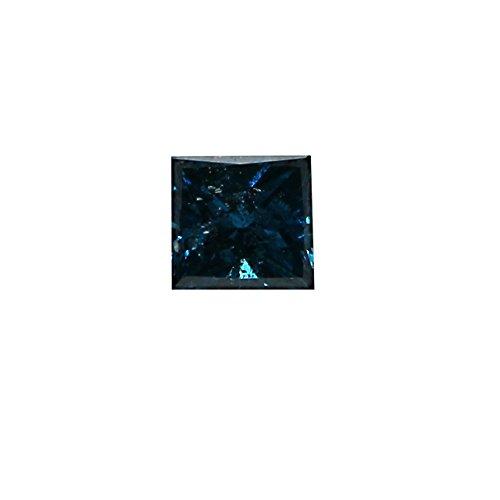 Jewel Zone US 0.25 Carat Princess Cut Blue Diamond I2 Clarity