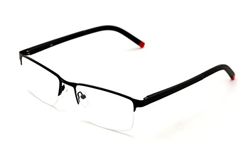 V.W.E. Men Half Rimless Rectangular Non-prescription Glasses Frame Clear Lens Eyeglasses Slim - Frames Mens Lens