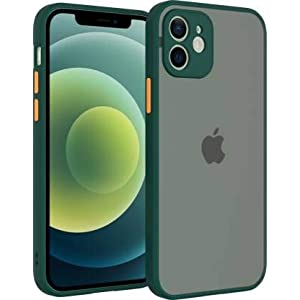 Jotech Smoke Shockproof Semi Transparent Camera Protection Back Cover Case for iPhone 12 Pro- Dark Green