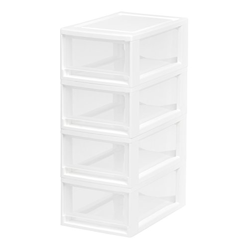 IRIS USA, Inc. MSD-1 Stacking Drawer, Small, White, 4-Pack