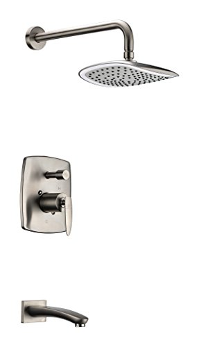 ANZZI Tempo Single Handle Wall Mounted Showerhead and Spigot Faucet Set in Brushed Nickel | Solid Brass Rain Shower Head Valve Faucets Combo Set System for Bathroom | - Infinity Diverter Brushed Nickel