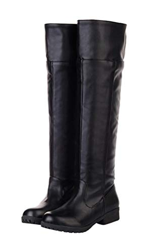 (Adult Men's Cos-Play Knee-high Boot Riding Boots (10.5) Black)