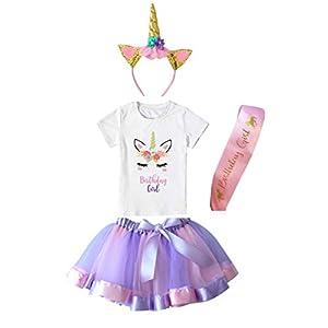 Girls Layered Tutu Skirt with Unicorn Tshirt, Headband & Satin Sash