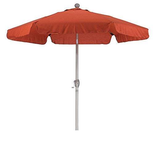 StarSun Depot Brick Red 7.5-Ft Patio Umbrella with 3-Way Push Button Tilt and Metal Pole in Champagne Finish