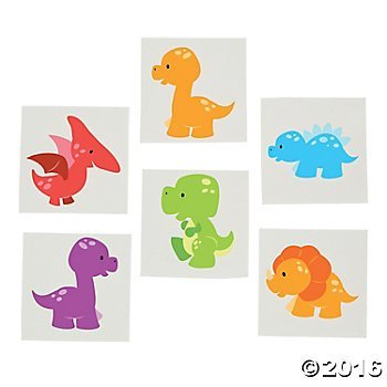 Little Dino Tattoos - 72 pc -