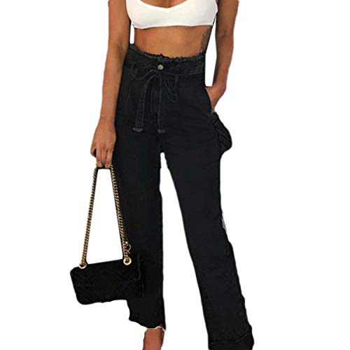 A Pantaloni Alta Vita Caviglia Con Cintura In Black Denim Jeans Donna Gotfeelin Alla Da 0qxzzd