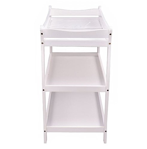 K&A Company Sleigh Style Baby Changing Table Infant Newborn Nursery Diaper Station Pad Furniture in White by K&A Company