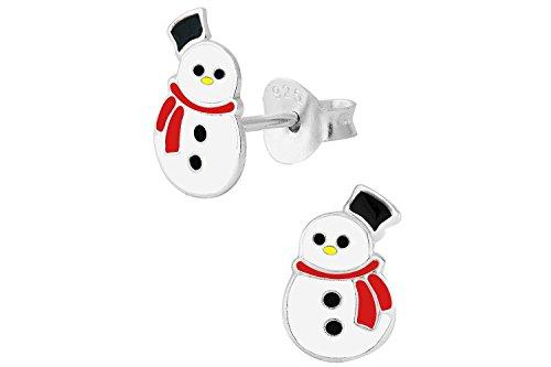 Hypoallergenic Sterling Silver Cute Snowman Christmas Stud Earrings for Kids (Nickel Free)