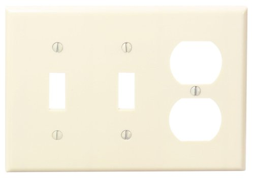 Leviton 86021 3-Gang 2-Toggle 1-Duplex Device Combination Wallplate, Standard Size, Thermoset, Device Mount, Ivory (2 Store And 2 1 1)