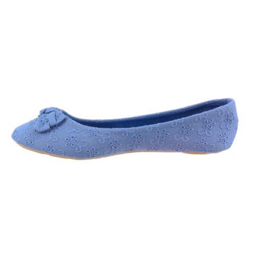 Spot On - Bailarinas de tela para mujer Azul