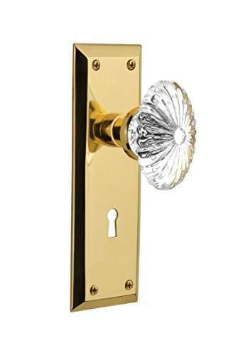 "Nostalgic Warehouse New York Plate with Keyhole Oval Fluted Crystal Glass Knob, Privacy - 2.375"", Polished Brass"