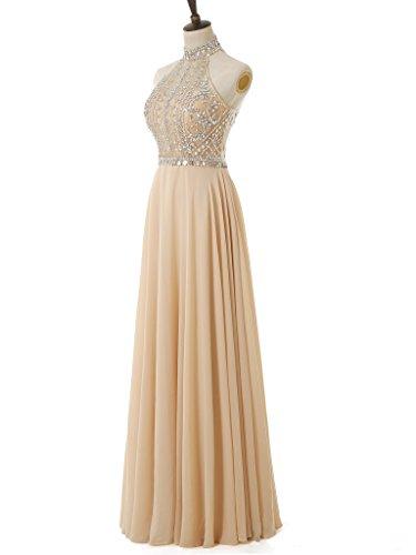 Gown Beaded Purple Chiffon Prom Halter Sexy Long Evening Women's Solovedress Dress Backless zPqxfTwf