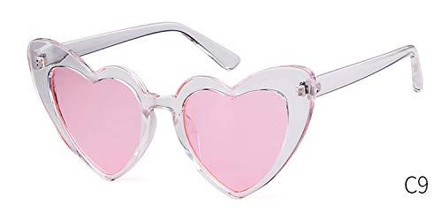 2019 Women Sunglasses Glitter Heart Shape Spring Girls Funny Sun Glasses Party Vintage OM863,C9 Not bling