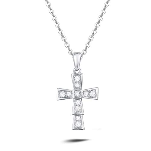 - Carleen 18k Solid Gold Diamond Small Crucifix Pendant Necklace Fine Jewelry Gifts for Women Girls (White Gold)